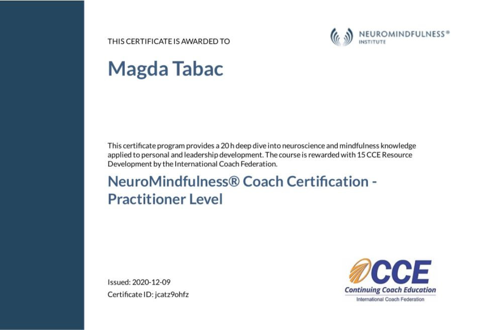 NeuroMindfulness Coach Certification Practitioner Level Certificate Magda Tabac - Applied Neuroscience