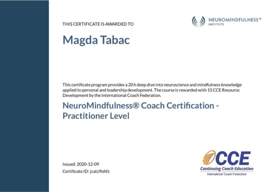 NeuroMindfulness Coach Certification Practitioner Level Certificate Magda Tabac - About Me