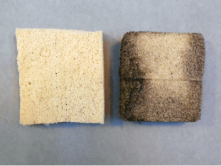 Comparison of a new and used chemical sponge after dry surface cleaning.