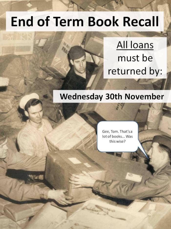 End of term book recall, all loans must be returned by Wednesday 30th November