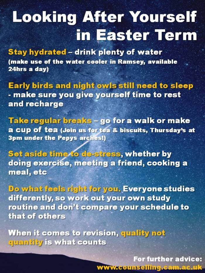 Looking After Yourself in Easter Term