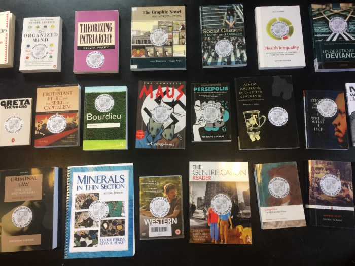 A photograph of some of the new books purchased Summer 2019.
