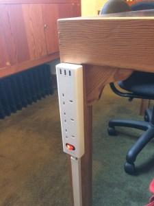 image of new plug sockets on desks