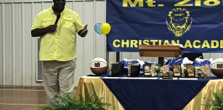 Former NFL Player Malcolm Taylor speaks to Mt. Zion Christian Academy