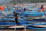 Wooden fishing boats in Pasir beach, Ayah district, Kebumen Regency. Photo taken on August 7, 2011.