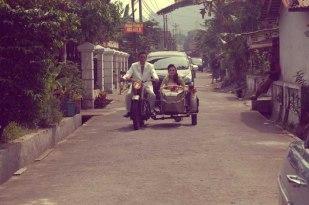 Bride Groom Vintage Ariel Motorcycle Magelang Images Indonesia