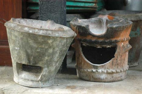 The anglo, charcoal braziers made of clay and cement.