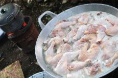 Opor ayam, chicken cooked in thick coconut milk.