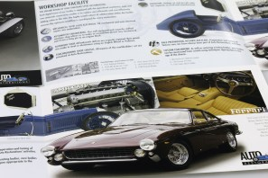 """Close-up detail of the second, four-page spread of Auto Restorations' double gate-fold capabilities brochure featuring Ferrari a fully restored 250 GT Pininfarina Berlinetta """"Lusso"""". Advertising and Promotion, designed and printed in Christchurch, New Zealand."""