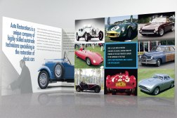 Opening the second, four-page spread of Auto Restorations' double gate-fold capabilities brochure. Advertising and Promotion, designed and printed in Christchurch, New Zealand.
