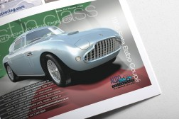 Siata Balbo half page advertisement for Auto Restorations in Classic Car enthusiasts magazine 2010. Second in a campaign of ads. The theme of the campaign is to dedicate each ad to one of their 16 international award winning restorations.