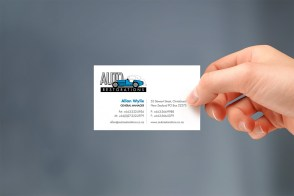 Auto Restorations business card, hand held, Brand and identity systems design, Print production, Illustration, Typography International classic car restoration