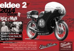 Eldee Velocette classic racing motorcycle, Isle of Man Classic TT 2014, ClassicRacer Magazine, half page horizontal colour advertisement. Advertising design, copywriting, photography.