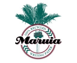 """""""Maruia"""" brand, """"100% recycled writing paper"""" trademark. The bold black """"Maruia"""" name is in flowing script over a roundel ring enclosing the """"100% recycled writing paper"""" product description. Entwined with the roundel and type is a graphical line drawing of a flowering Nikau palm. Printed in two colours, red and green, overprinting produces a near black """"Maruia"""" product name. Being higher contrast the Maruia name stands forward of the green Nikau and red roundel elements.Brands for New Zealand companies."""