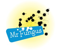 """Mr Fungus logo. Hand-lettered 'Mr Fungus' name white out of a cyan blue rhombus, with a spatter of black ink spots on a yellow gradient background. Mr Fungus is a comic character """"the world's loudest mime"""" developed by Fergus Aitken, Entertainer, educator, 'international comic mime'. Brands for New Zealand / International companies. Wellington."""