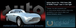Graphic Italian Sports Car, 1955 Siata Balbo Coupe slide from the 'Auto Restorations—automotive dreams' 'PassionPoint' slideshow / marketing communications banner at the head of the homepage. The positioning of the Auto Restorations brand as representing a firm of internationally recognised, highly skilled and experienced classic car restorers who are also passionate classic car enthusiasts is expressed in these mini-advertisement