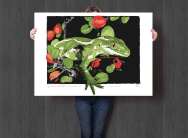 Jewelled Gecko Giclée with mid grey background, A0 size.