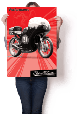 """Dynamic Eldee Velocette """"Performance"""" Isle of Man Classic T.T. poster. Poster design and print, Christchurch, New Zealand."""