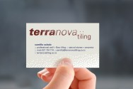 The attractive Terranova Tiling logo and business card. Illustrations send a powerful message. Using artwork to stir a specific feeling—in this case quality craftsmanship and attention to detail. A minimal but well crafted page layout is more professional than a flashy design poorly built.