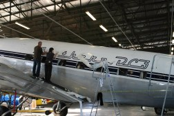 Southern DC3 ZK-AMY livery application, in the Hangar at Wigram, Chistchurch, New Zealand.