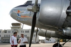 Southern DC3 concept nose art draft, 2006. Richie McCaw chats with Dave Horsburgh at Wigram Airfield.