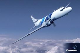 Composite air-to-air image of Pionair Australia's Convair VH-PDV