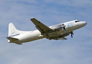 Pionair Australia Convair VH-PDX takes off from Sydney Bankstown, January 14, 2011.