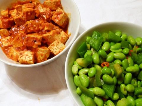 mala-doufu und gebratene sojabohnen
