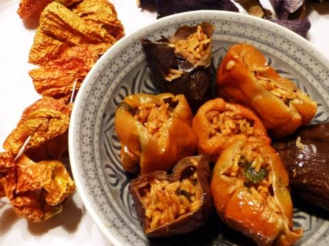 gefüllte paprika und auberginen