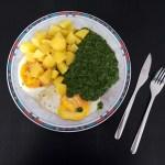 Kartoffeln, Spinat und Spiegeleier
