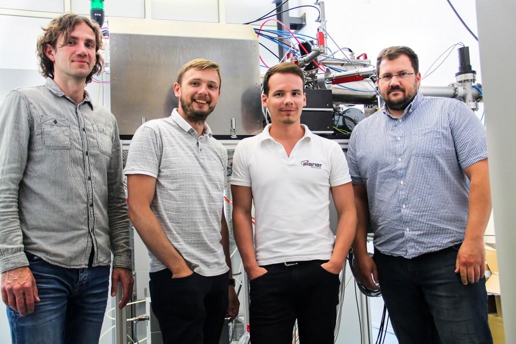 Wigner fusion team group picture, Dr. Gábor Anda, Sándor Hegedüs, Domonkos Nagy, Tibor Krizsanóczi