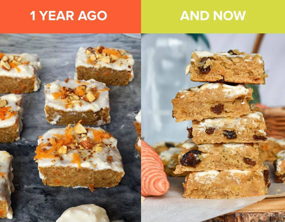 """left side of the photo shows an old photo of carrot cake blondies. right side shows the new """"better"""" photo where the blondies are stacked high and the texture and chunks of raisins and carrot show."""
