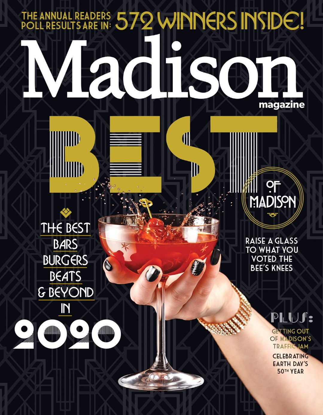Cover of Madison Magazine's January 2021 issue with a nurse wearing a face shield and mask