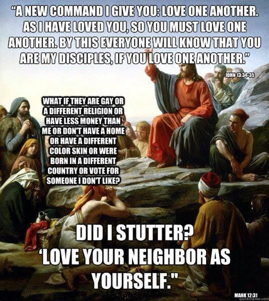 "Love your neighbor, ""did I stutter"" meme"