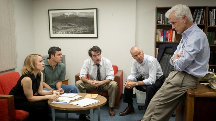 Rachel McAdams, Mark Ruffalo, Brian d'Arcy James, Michael Keaton and John Slattery play <em>Boston Globe</em> journalists in the film, Spotlight.