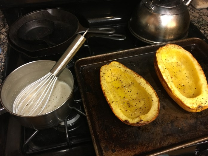 Roasted spaghetti squash & brown butter mix!