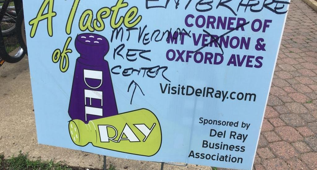 Taste of Del Ray sign
