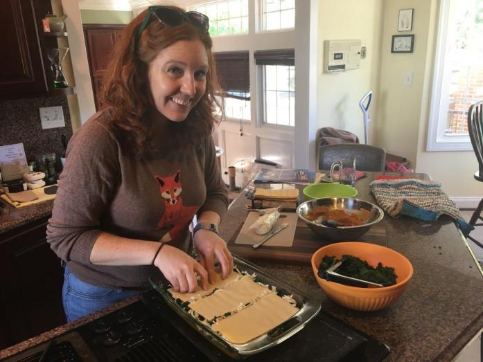 Putting together the lasagna!