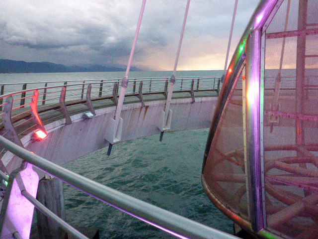 A colourful display on the circular pier.