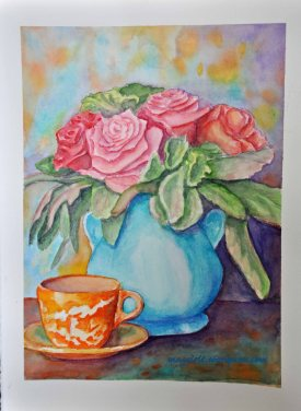Roses and teacup