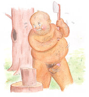 Naked Bear-type Man Chopping Wood by Charlie Goodwin