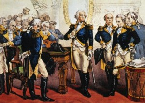 Washington Taking Leave of the Officers of His Army by Currier & Ives (bowdlerized version)