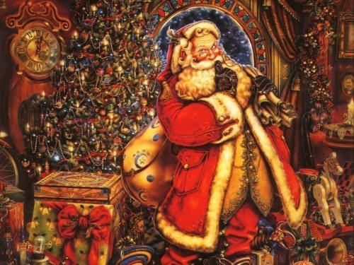 stained glass Santa Claus