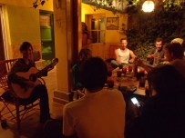 Music jam! We are hanging out with some very talented people.