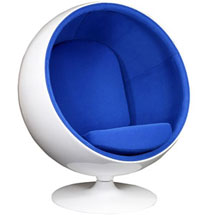 Eero Aarnio Style Ball Chair in Blue at LexMod