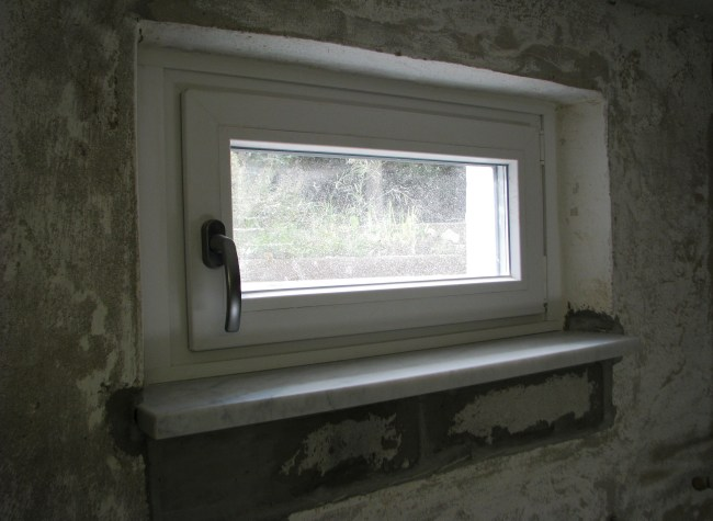 Window sills all plastered and ready for wall paint
