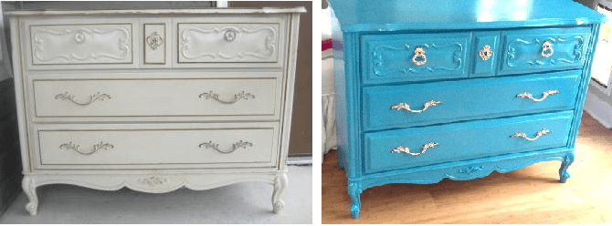 This French Proviecel piece got a paint makeover and I was able to reuse the handles just the way they were