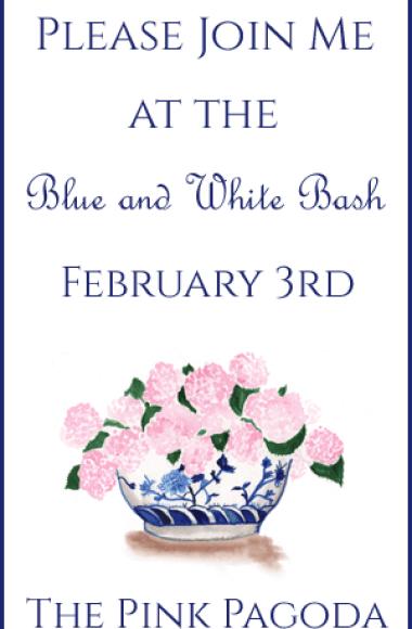 Blue and White Bash Invitation