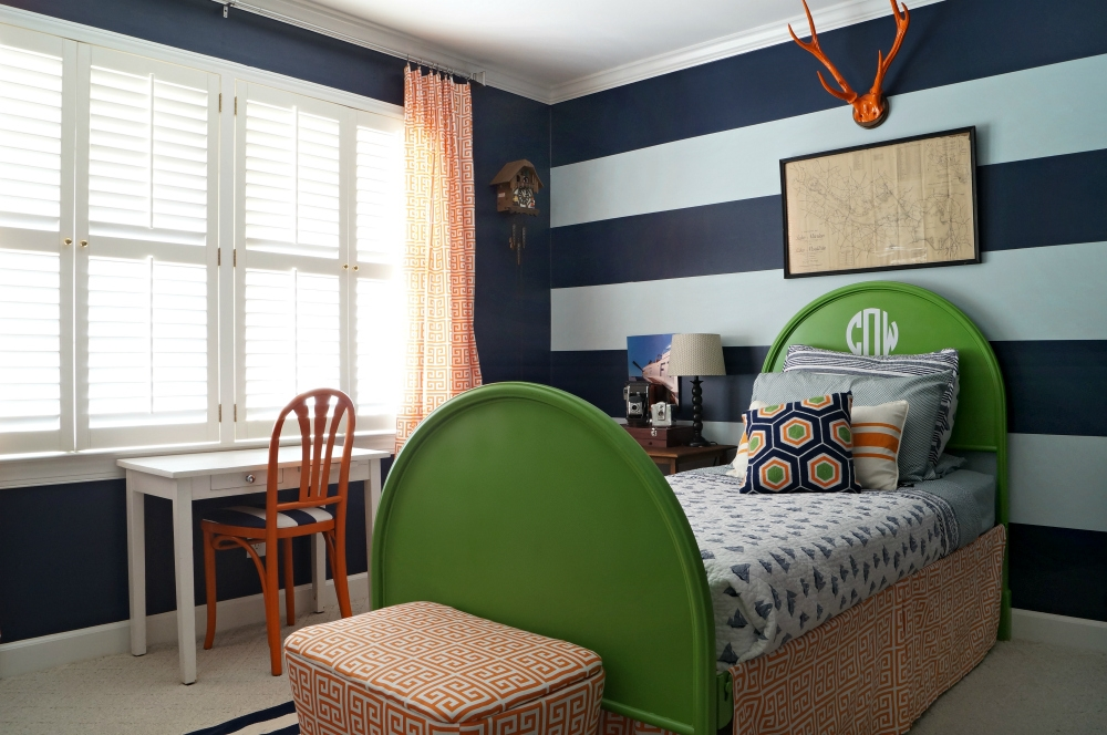 Navy Striped Boy's Room Remix