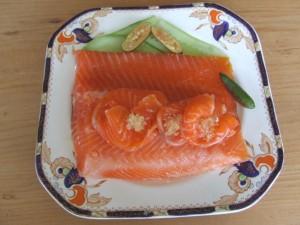 Ocean trout cured with an orange pruree